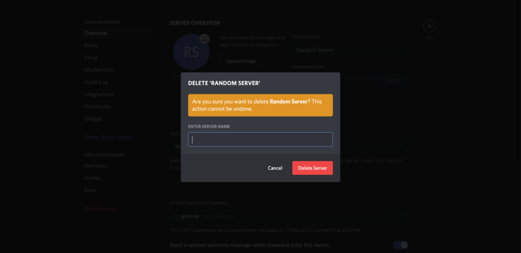 Delete a discord server