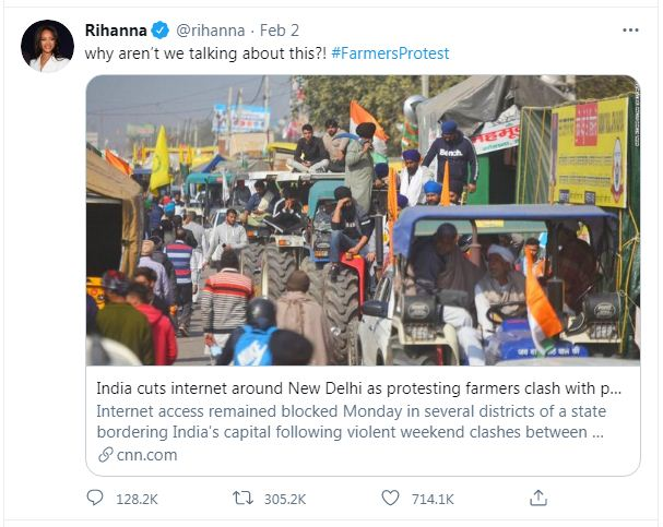 Why is indian farmers protest is supported by hollywood stars and porn stars ?
